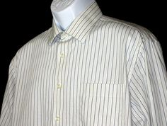 Joseph Abboud Men's White Blue Green Stripes Cotton Button Shirt Size 16.5 34-35 #JosephAbboud #ButtonFront