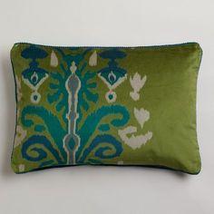 Green Ikat Velvet Dori Lumbar Pillow