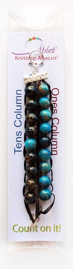 Ablet Knitting Abacus Row Counter Bracelet, 2-tier (Blue and Teal, packaging)