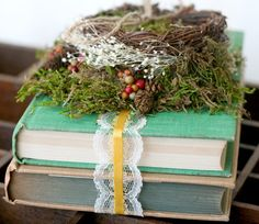 old bible  + ribbon + wedding rings instead of tacky pillow