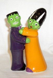 """Grasslands Road All Hallow's Eve Frankenstein & Bride Magnetic Salt & Pepper Set 469398 by Grasslands Road. $16.50. Food safe. Wipe clean with a damp cloth.. Bride (salt) is 2"""" x 2"""" x 4.5"""". Great gift for Halloween.. Frankenstein (pepper) is 1.75"""" x 1.5"""" x 4.5"""". Adorable and colorful Frankenstein & Bride Salt & Pepper Shakers are Magnetic too.. Wipe clean with a damp cloth,"""
