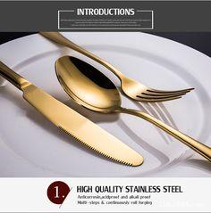 KCASA™ Stainless Steel Golden Western Food Dinnerware Cutlery Fork Knife & Spoons Tableware Set at Banggood