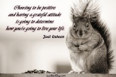 Choosing to be positive and having a grateful attitude is going to determine how you`re going to live your life. | quotesofday.com