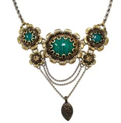 Vintage Couture Green Art Glass Cabochon Ornate Gold Plated Dangle Necklace