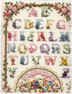 Ribbon Emboidery and Cross Stitch Alphabet Sampler by Julia Monroe
