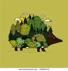 Hedgehog and forest. Illustration of nature with optic illusion