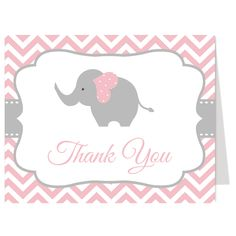 Thank guests for attending your girl baby shower with pink and gray chevron striped thank you card featuring an elephant. White envelopes included.