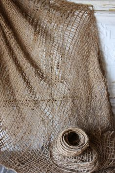 "Open Weave Natural Burlap 5 yards Netting 47"" width $37 (could we drape this?)"