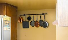 diy pot rack with pipes from home depot, cleaning tips, diy, kitchen design, repurposing upcycling, storage ideas