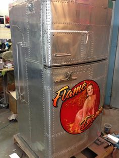 Flame Dame Pinup - Riveted Metal Fridge - by Mike Lavallee at Killer Paint - www.killerpaint.com