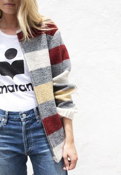 Isabel Marant | stripe wool blend coat
