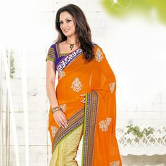 Orange and Yellow Faux Georgette and Net Jacquard Saree With Blouse