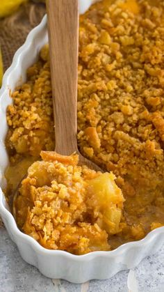 The Best Pineapple Casserole [Video] - Sweet and Savory Meals Pineapple Casserole is a classic Southern casserole made with sugar, pineapple, cheese and butter Ritz crackers. A sweet and savory side dish, that is always a huge hit. Best Pineapple Casserole Recipe, Pineapple Cheese Casserole, Casserole Recipes, Pineapple Stuffing, Carrot Casserole, Baked Pineapple, Pineapple Recipes, Best Nutrition Food, Health And Nutrition