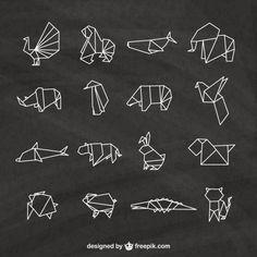 Animais de Origami embalar Vetor grátis