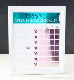 Free Printable After School Checklist at artsyfartsymama.com #HSMinc #FoilAlltheThings