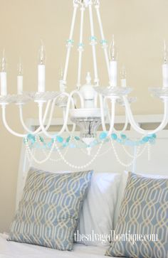 Sea Glass Chandelier Makeover  Pat Catan's Gift Card Giveaway! | The Salvaged Boutique