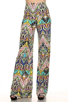 Women's Funky And Fun Spring Color Design Print Wide Leg Palazzo Pants