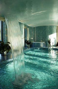 waterfall inside pool