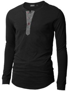 Doublju Mens Henley T-shirts with Long Sleeve - List price: $50.99 Price: $15.99 Saving: $35.00 (69%)