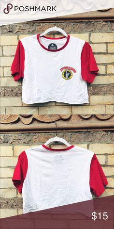Vanguards YOUNG BLOOD Cropped Tee Cute cropped wrangler tee with Young Bloods logo and crimson red sleeves PacSun Tops Crop Tops