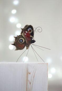 Needle Felt Butterfly  Peacock Butterfly  Home by FeltArtByMariana