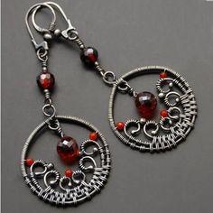Carmenere - Biżuteria artystyczna, srebrne kolczyki z naturalnymi kamieniami, ze szkłem, na szydełku