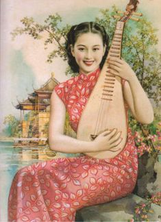 Vintage Chinese Cal. Girl with Mandolin by floquilter, via Flickr. #vintage #Asian #fashion