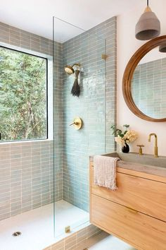 Bathroom Renos, Master Bathroom, Remodel Bathroom, Dyi Bathroom, Simple Bathroom, Bathroom Styling, Bathroom Tile Colors, Patterned Tile Bathroom Floor, Tiled Walls In Bathroom