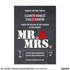 Mr. and Mrs. Modern typography black red wedding 5x7 Paper Invitation Card