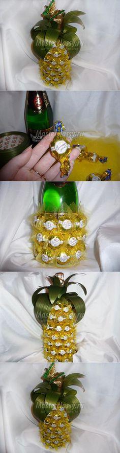 Пьяный ананас из шампанского и конфет ко Дню Святого Валентина.