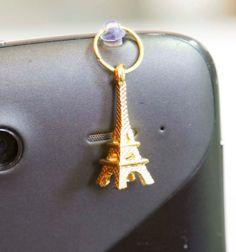 Golden eiffel tower phone charm miniature kawaii by Zoozim on Etsy, $5.00