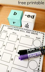 Practice blending onsets and rimes with this free printable roll and write phonics activity for kindergarten and first grade. Includes real and nonsense word identification too.