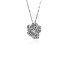 Monique Lhuillier Floral Diamond Pendant in 18k White Gold