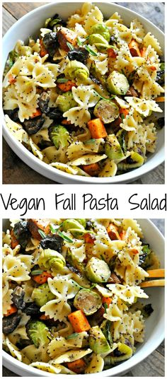 Vegan Fall Pasta Salad Roasted Fall veggies, tossed with pasta and the most amazing vegan creamy poppy seed dressing! - Vegan Fall Pasta Salad - Rabbit and Wolves Veggie Recipes, Whole Food Recipes, Salad Recipes, Cooking Recipes, Healthy Recipes, Pumpkin Recipes, Fall Vegetarian Recipes, Fall Dinner Recipes, Greek Recipes