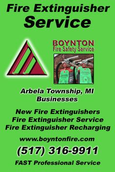 Fire Extinguisher Service Arbela Township, MI.  (517) 316-9911 Check out Boynton Fire Safety Service.. The Complete Source for Fire Protection in Michigan. Call us Today!