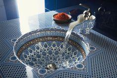 Interior Designs, Artistic Shape Sink Patterned Blue Modern Moroccan Decor Ideas ~ Stylish Modern Moroccan Decor Offers a New Interior Design Modern Moroccan, Moroccan Design, Moroccan Decor, Moroccan Style, Moroccan Furniture, Turkish Style, Bedroom Furniture, Design Marocain, Style Marocain