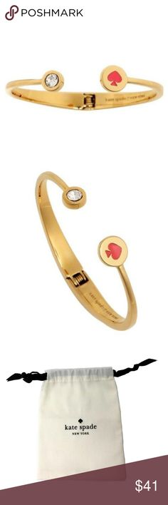 "Kate Spade Gold Tone Open Cuff Bracelet ""Spot the Spade Crystal"" 100% Authentic Kate Spade!  Buy with confidence!  • MSRP: $58.00 • Style: O0RU1340  Features: • 12K Gold Plated • One side has a beautiful clear crystal, and the other side has a spade • There is an open hinge back for perfect fit • Diameter is 2 1/4"" closed • Expands to 3"" to put it on your wrist  Please feel free to ask any questions. Happy shopping! kate spade Jewelry Bracelets"