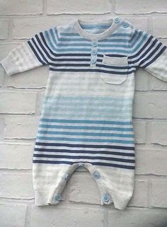 Baby Boys Cotton Knit Romper Striped Pattern 0-3 months George #George