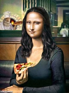Mona pizza You are in the right place about Pizza box Here we offer you the most beautiful pictures about the Pizza girl you are looking for. When you examine the Mona pizza part of the picture you ca Mona Lisa Pizza, Lisa Gherardini, Pizza Girls, La Madone, Mona Lisa Parody, Mona Lisa Smile, I Love Pizza, American Gothic, Portrait