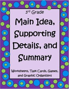 This Main Idea, Supporting Details, and Summary Packet for 3rd Grade by The Teacher Next Door is a 40 page set of worksheets, games, task cards and graphic organizers to help your students master the concept of finding the main idea using informational text. This unit is specifically created to target 3rd grade Common Core standards in a way your students will enjoy! $