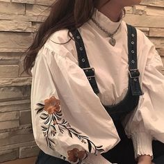 White balloon embroidered sleeve blouse shirt under eyelet black edgy punk braces pinafore dress - Accessories of Women Aesthetic Fashion, Look Fashion, Aesthetic Clothes, Korean Fashion, Fashion Design, Witch Aesthetic, Beige Aesthetic, Muslim Fashion, 80s Fashion