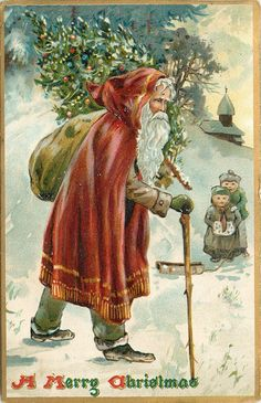 Father Christmas walking by 2 little kids Santa Claus Postcard Sweden Christmas, Merry Christmas Santa, Old Christmas, Old Fashioned Christmas, Victorian Christmas, Father Christmas, Retro Christmas, Primitive Christmas, Vintage Christmas Images