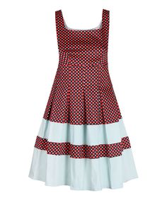 Look at this Darling Coral Geo Kelly Fit & Flare Dress on #zulily today!