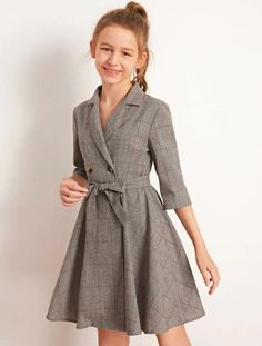 To find out about the Girls Lapel Collar Double Breasted Belted Plaid Dress at SHEIN, part of our latest Girls Dresses ready to shop online today! Stylish Dresses For Girls, Dresses Kids Girl, Little Girl Outfits, Little Girl Fashion, Cute Dresses, Casual Dresses, Dresses For Teens, Preteen Girls Fashion, Girls Fashion Clothes