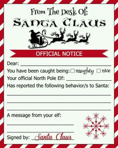 Naughty list warning notice from santa free printable aryanna naughty or nice elf letter note from santa by creationsbyjlynn spiritdancerdesigns Images