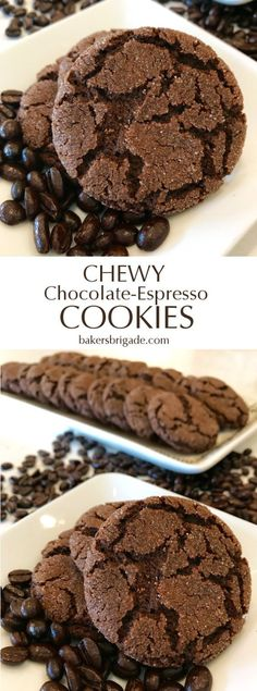 Chewy Chocolate-Espresso Cookies - Healthy Family Idea This is my most-requested recipe, no contest. These have the texture of a traditional chewy molasses cookie plus deep chocolate and espresso. Oreo Dessert, Cookie Desserts, Just Desserts, Delicious Desserts, Dessert Recipes, Yummy Food, Cookie Flavors, Cookie Jars, Appetizer Dessert