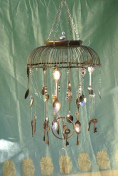 Silver Basket Wind Chime With Skeleton Keys and Spoons