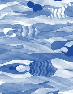 Illustrations for Bitch magazine's 67th issue, accompanying Meisha Rosenberg's article 'Making Waves: The Slow Crawl Toward Making Swimming More Inclusive'. Art direction by Kristin Rogers Brown.