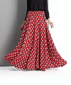Red Boteh Maxi Skirt by Reborn Collection #zulily #zulilyfinds