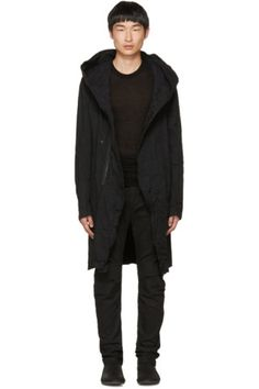 Long sleeve 8 oz. stretch denim hooded coat in black. Fading and creasing throughout. Concealed two-way zip closure with press-stud placket at front. Seam pockets at waist. Unlined. Gunmetal-tone hardware. Tonal stitching.
